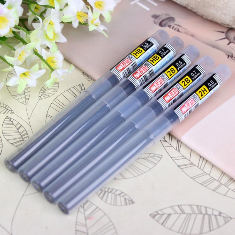 2017 nuevo estilo de alta calidad 2B HB tubo de recarga de plomo a 0,5mm/0,7mm lápiz automático de plomo para lápiz mecánico