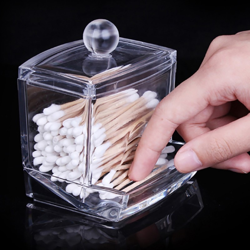 Caja de almacenamiento, organizador de maquillaje, almohadillas de algodón portátiles, contenedor de acrílico transparente, caja de algodón, bastoncillos, Organizador
