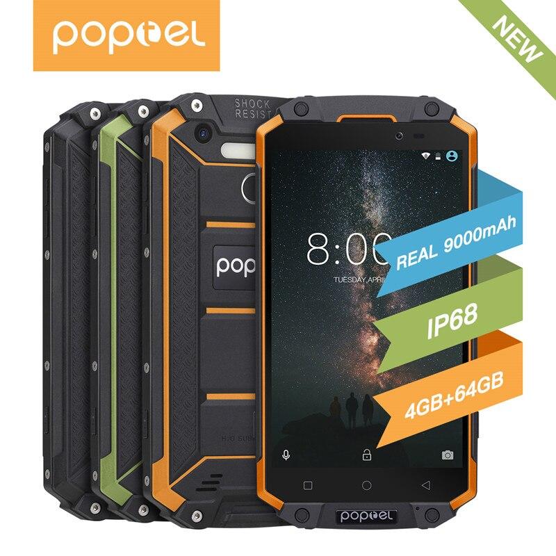 """GuoPhone POPTEL P9000 Max 4GB 64GB IP68 impermeable a prueba de golpes a prueba 4G SmartPhone 5,5 """"FHD MT6750V Octa Core 13MP NFC OTG huellas dactilares"""