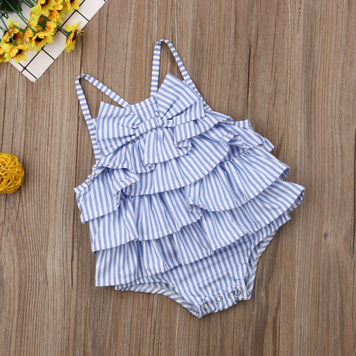 New Product 2019 Summer Baby Girls Striped Bow Sleeveless Ruffle Bodysuit Outfits