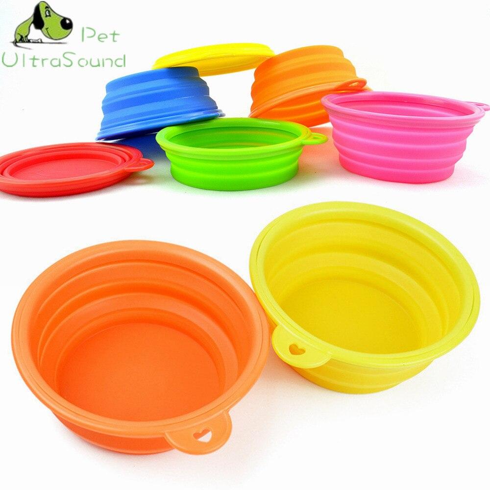 Ultrasonido para mascotas perro gato mascota de viaje de silicona cuenco plegable para agua y comida alimentador portátil tazón de agua para mascotas