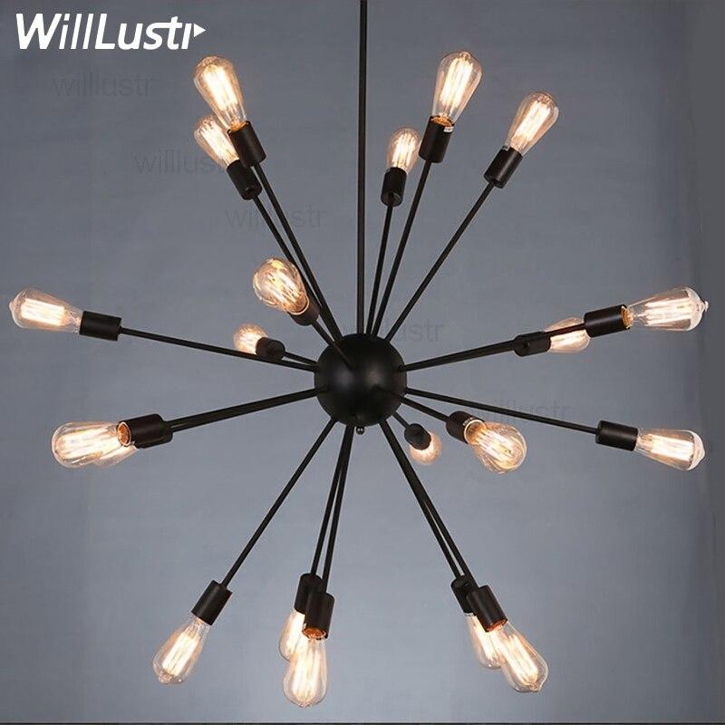 Lámpara colgante Sputnik vintage, lámpara colgante de hierro forjado, lámpara de araña atómica con luz de estallido, lámpara de suspensión para el hogar, restaurante, hotel
