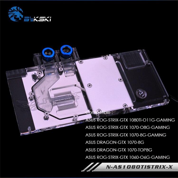 Bykski GPU Water Block for ASUS ROG STRIX GTX 1080Ti 1070 O8G GAMING GPU Cooled   3pin/4pin AURA Motherboard N-AS1080TI STRIX-X
