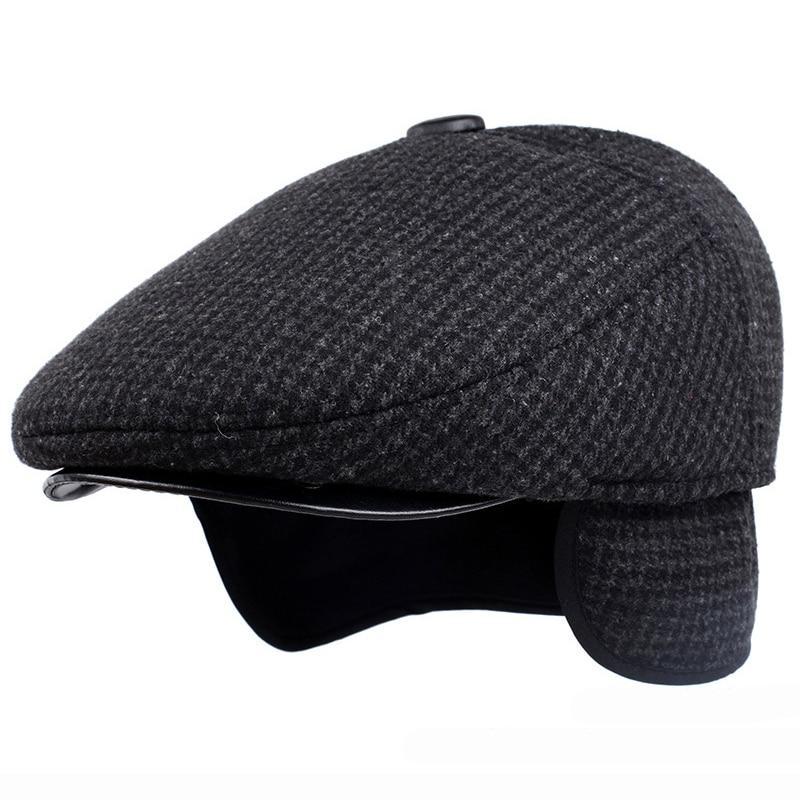 HT1847 Classic Man Cap Autumn Winter Hat with Ear Flap Elder Man Male Dad Hat Warm Newsboy Ivy Flat Cap Wool Blend Men Beret Cap