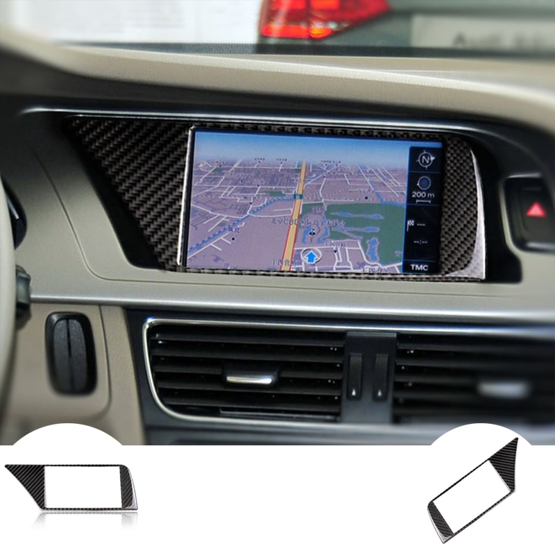 RRX Carbon Fiber Car Internal navigation ConsoleNavigation Screen Frame Cover Trim Accessories For Audi A4 B8 09-16 Car styling