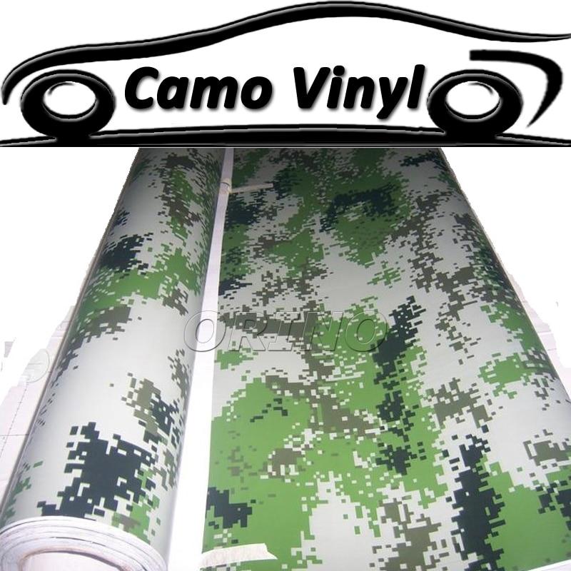 Estilo de coche militar verde camuflaje Digital vinilo envoltura ejército verde Camo película pegatina Auto vehículo cubre burbujas de aire libre
