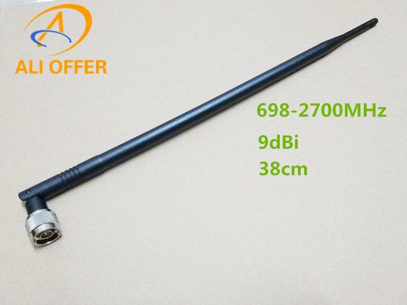 9dBi 4G de antena de banda completa Antena de látigo, 698-2700MHz para 700/800/900/1800/2100/2600/2700MHz CDMA GSM DCS 3G 4G LTE de refuerzo