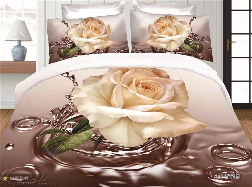 Mejor WENSD estilo occidental de textiles para el hogar, regalo de boda de fibra de bambú doble set para la cama funda nórdica + plana sábana + funda de almohada