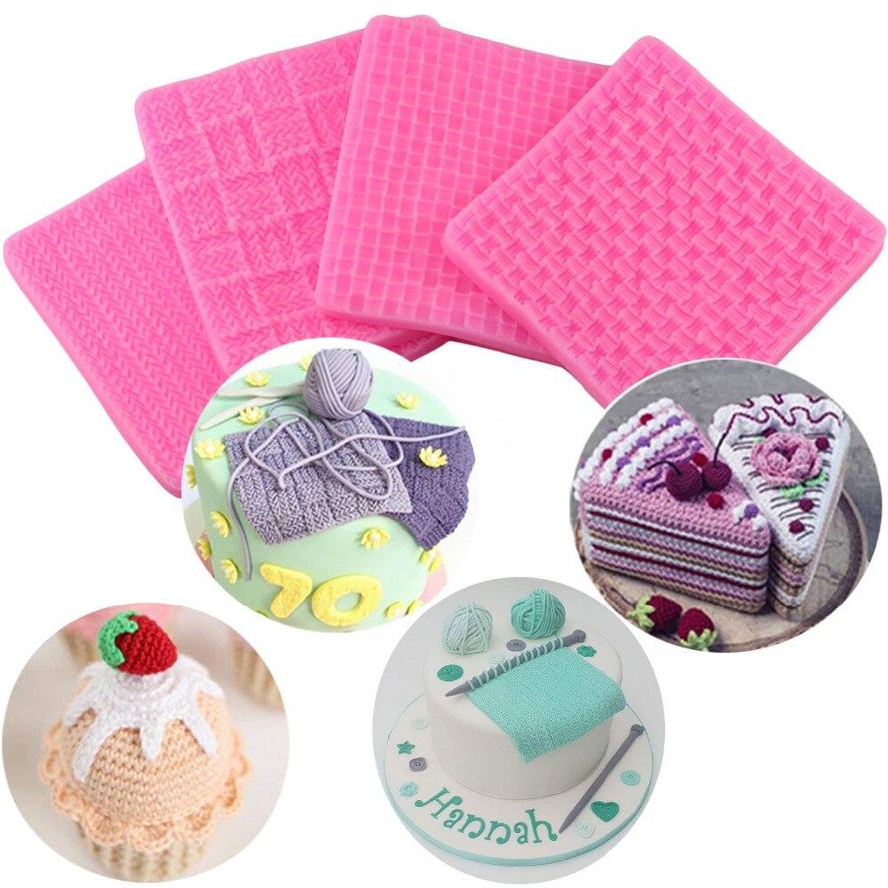 Tela para Jersey textura de tejido galletas en relieve de decoración de encaje Mat de silicona molde Fondant molde boda Cupcake decoración herramientas