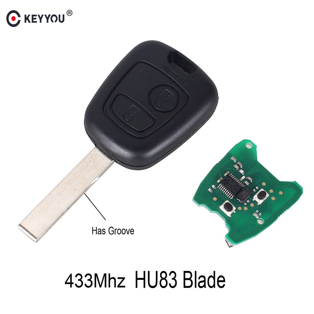 KEYYOU 2 Buttons HU83 Blade Remote Complete Key For PEUGEOT 307 For Citroen C1 C3 433MHZ PCF7961 Transponder Chip Remote Car Key