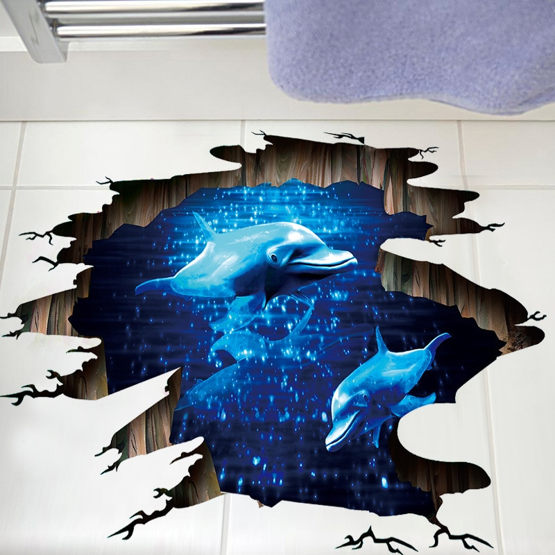 Neue 3D Gebrochen Wand Delphin Boden Aufkleber Blau Phantom Wand Aufkleber Für Kinder Baby Zimmer Poster Wohnkultur Dach Decke kunst Wandbild