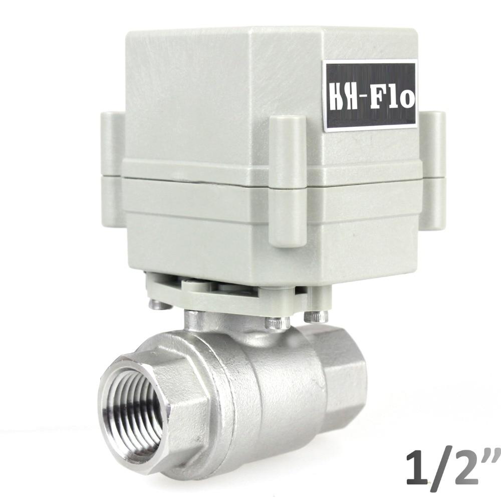 "HSH-Flo 1/2"" DN15 DC12V  2 Way Motorized Ball Valve,Stainless Steel 304 CR2-01 Electrical Ball Valve"