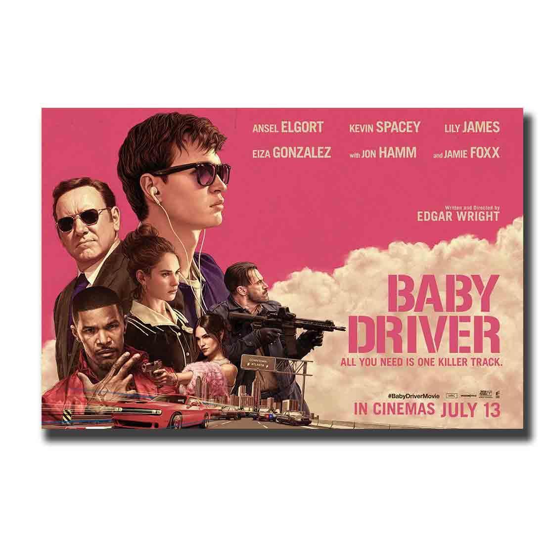 Película de driver de bebé 2017 película lily James Debora Hot Art Poster12x18 24x36 27x40 impresión costom pared lienzo moderno para pintura decoración