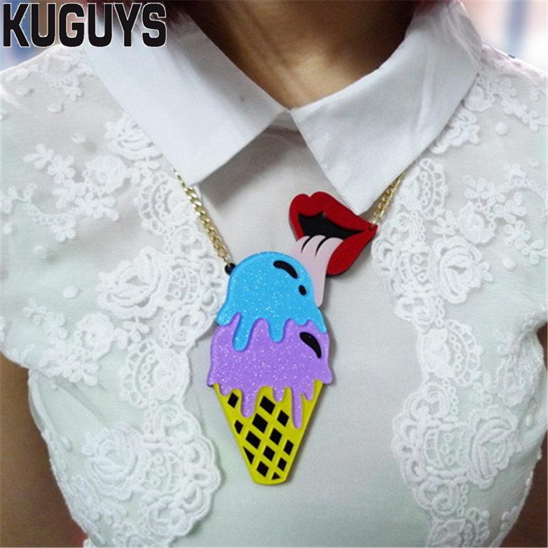KUGUYS, joyería de moda para mujer, collar con colgante grande de helado acrílico, cadena de eslabones, collares encantadores de moda