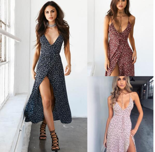 2019 Summer Women Sling Floral Dress Sexy Deep V-neck Printing High Waist Dress Fashion Bohemia Female Harness Long Dress