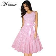 MISSJOY Crochet Floral dentelle vintage robe élégante mode femmes vêtements sans manches o-cou taille haute avec ceinture grande taille 3XL-4XL