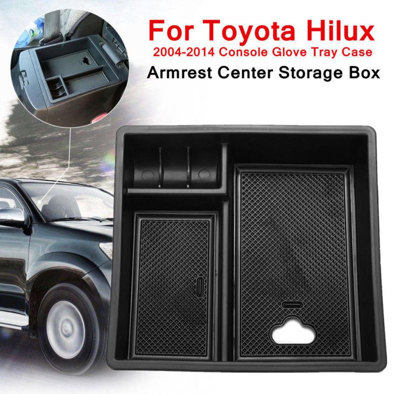 Compartimento central para coche, bandeja de almacenamiento con reposabrazos para Toyota Hilux VIGO Fortuner Innova 2005-2014, caja de almacenamiento central con reposabrazos