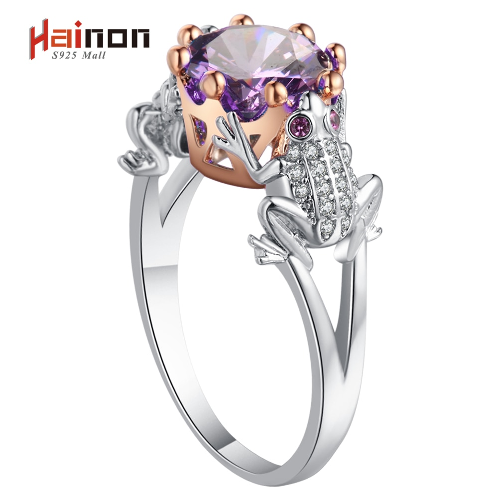 Anillo con forma de príncipe rana para mujer, joyas de moda de verano, amuleto de animal de Cristal púrpura, color rosa dorado plateado
