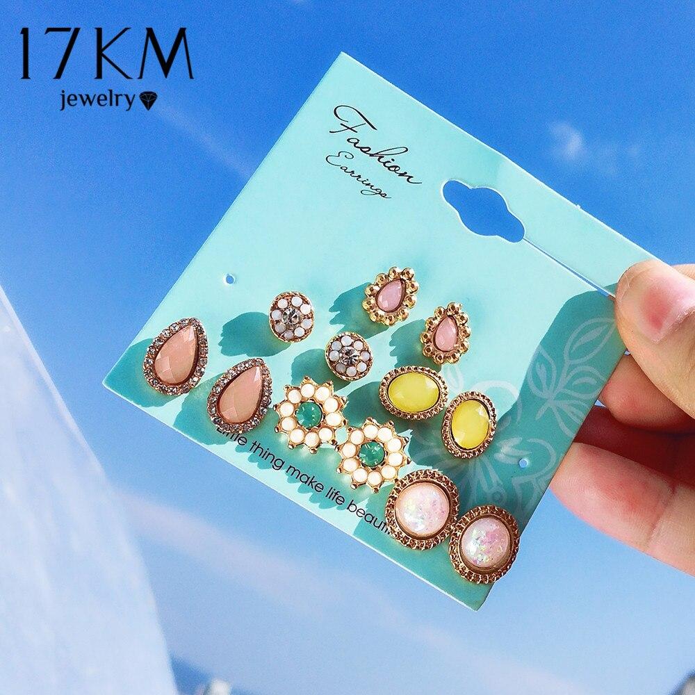 17KM bohême fleur pierre boucles doreilles ensemble pour les femmes mode cubique zircone rond boucle doreille déclaration ethnique fête bijoux cadeaux