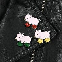 Lot de 3 cochon drôle avec bottes de pluie broches broches sac à dos sacs chapeaux en cuir jecket accessoires bijoux de porc bijoux pour animaux