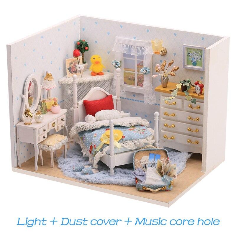 DIY Villa para muñecas, casa de madera con luces 3D, casa de muñecas en miniatura, muebles, juego de rompecabezas, juguetes para niños, regalo de la serie Bestist