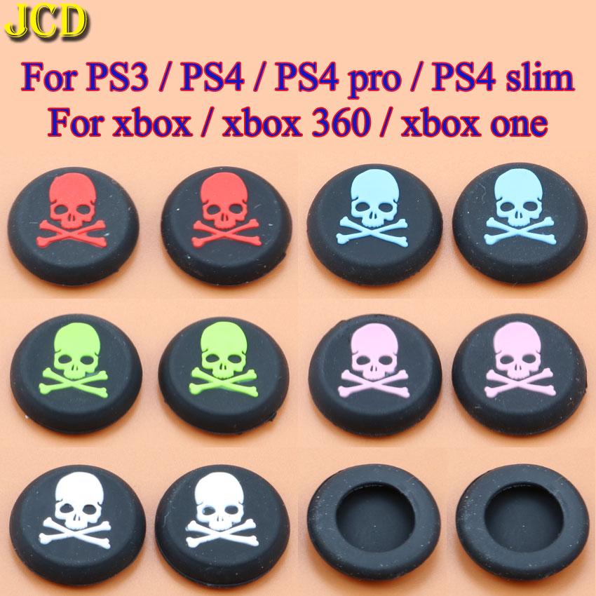 JCD 2 pièces Crâne Silicone JoyStick Analogique Poignées Bouchon pour PS3 PS4 Pro/Mince Contrôleurs Manette De Xbox 360/Un