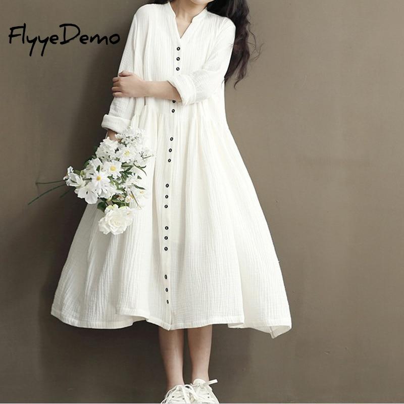 FlyyeDemo, vestido de algodón de lino blanco y azul suelto para mujer, otoño 2020, nuevo Vestido de manga larga con cuello en V, suelto, manga de murciélago para mujer
