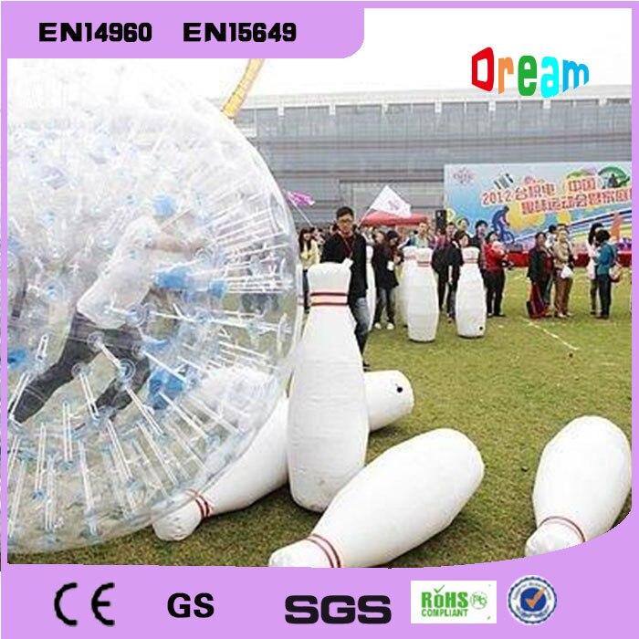 شحن مجاني 6 قطع و 1 قطعة Zorb الكرة نفخ البولينج دبابيس نفخ الإنسان البولينج المراعي الكرة الإنسان البولينج Bs