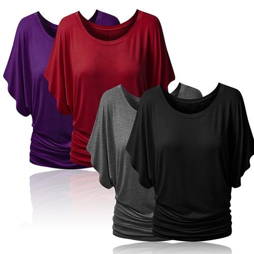 Las mujeres cuello barco Dolman Casual Tops codo manga hombro Tee camiseta