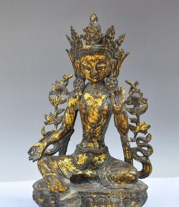 "17 ""el Tíbet budismo bronce dorado KwanYin GuanYin Tara Verde Diosa estatua de buda"