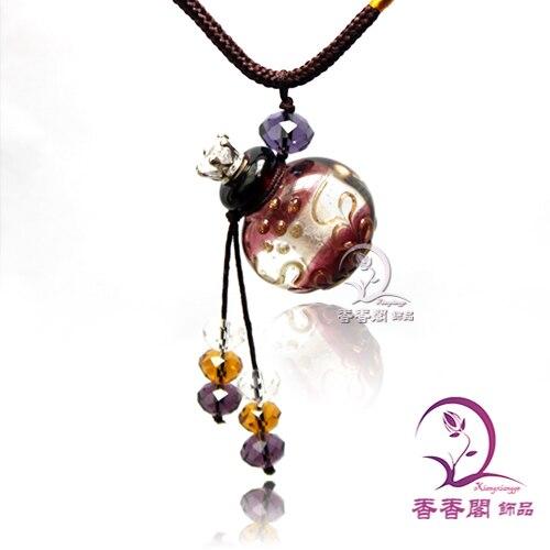 1 Uds. Collar de perfume cristal de Murano barroco (con cordón), botellas de Aroma, collar de frasco de fragancia, viales de perfume