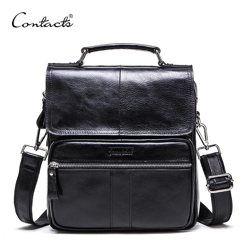CONTACT'S عارضة جلد أصلي للرجال حقيبة ساع مع سستة جيب عالية الجودة حقيبة كتف للذكور لينة Crossbody أكياس