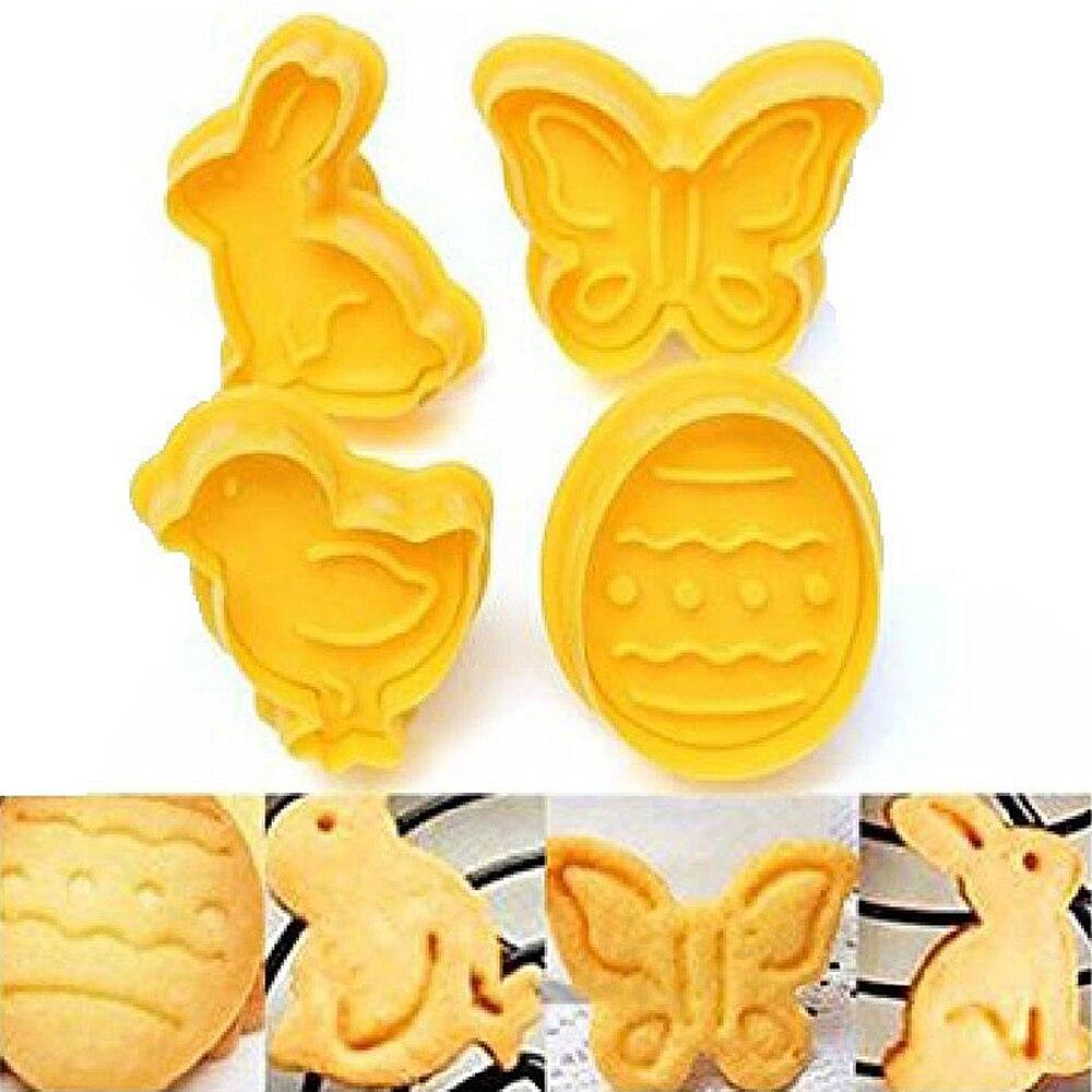 Molde de hornear cocina de plástico con diseño de conejito de Pascua de 4 Uds. Cortador de masa de galleta, 3D émbolo, utensilios para decoración de tortas con Fondant