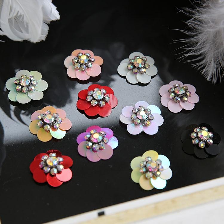 Remendos de cristal frisado flor lantejoulas costura em remendos para roupas parches termoadesivos para ropa apliques de roupa