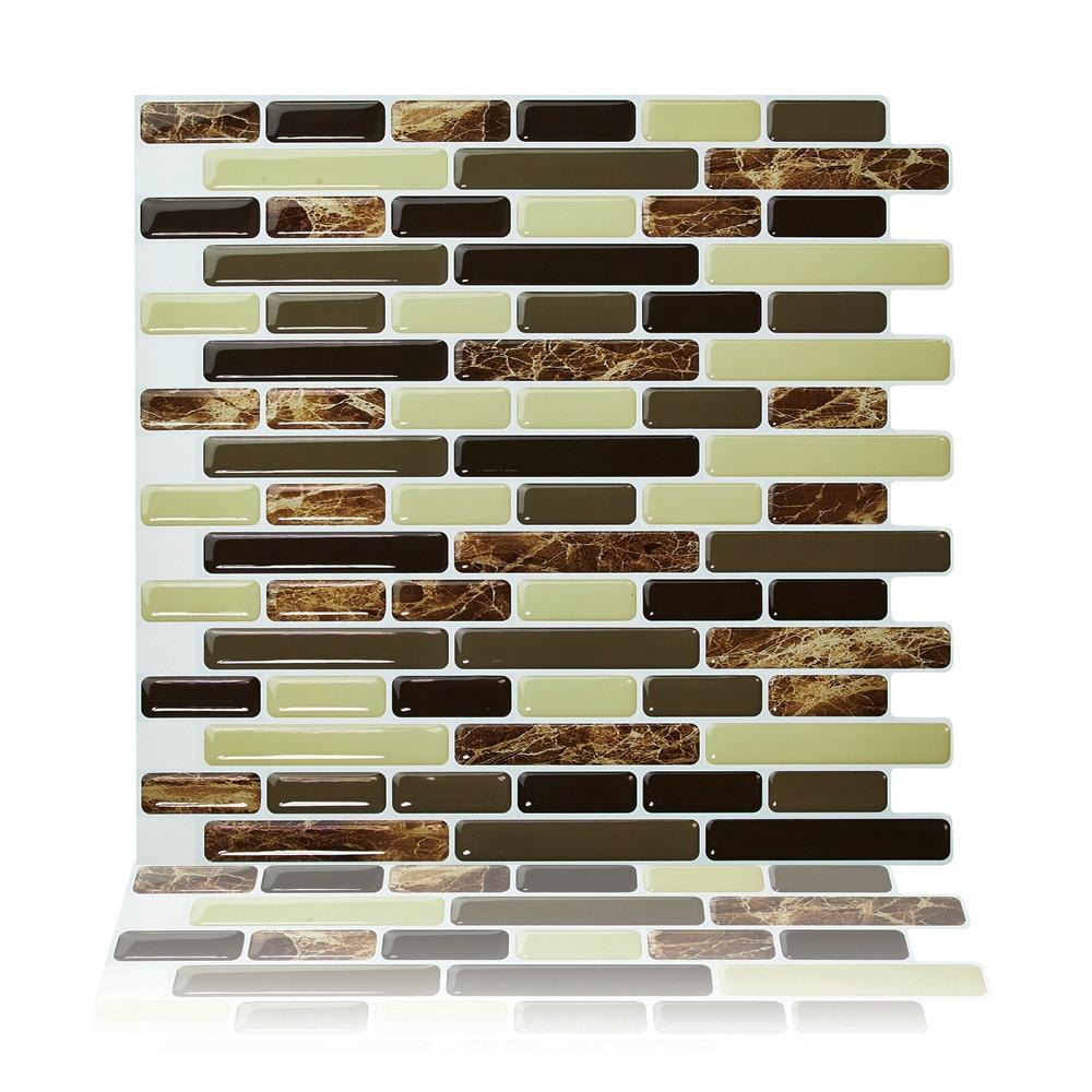 Cocotik 10,5 pulgadas x 10 pulgadas/Uds Baño de cocina autoadhesivo diseño de mosaico 3D pelar y pegar papel tapiz azulejos contra salpicaduras