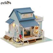 CUTEBEE maison de poupée maison de poupée Miniature à monter soi-même avec meubles maison en bois jouets pour enfants cadeau danniversaire mer des caraïbes A037
