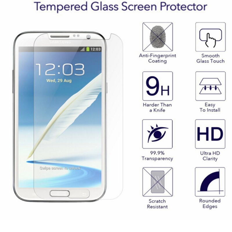 9 h vidro temperado para samsung galaxy note 2 ii 5.5 protetor de tela filme note2 n7100 lte n7105 filme capa