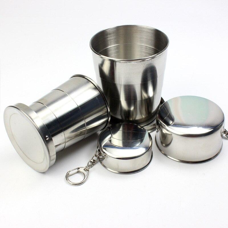 1 Pcs Edelstahl Tragbare Camping Klapp Wasser Tasse Außen Reise Faltbare Tasse Mit Schlüsselbund Trinken Tools