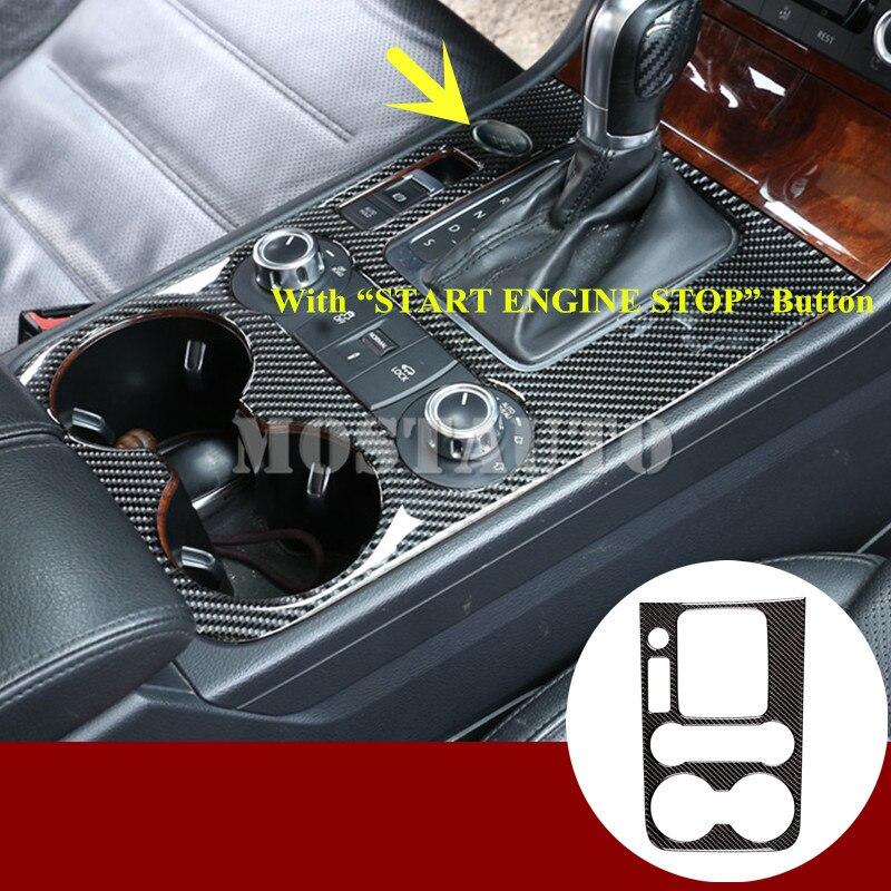 Para VW Touareg, caja de cambios de consola central de fibra de carbono, embellecedor de marco, Cubierta 2011-2018, 1 Uds