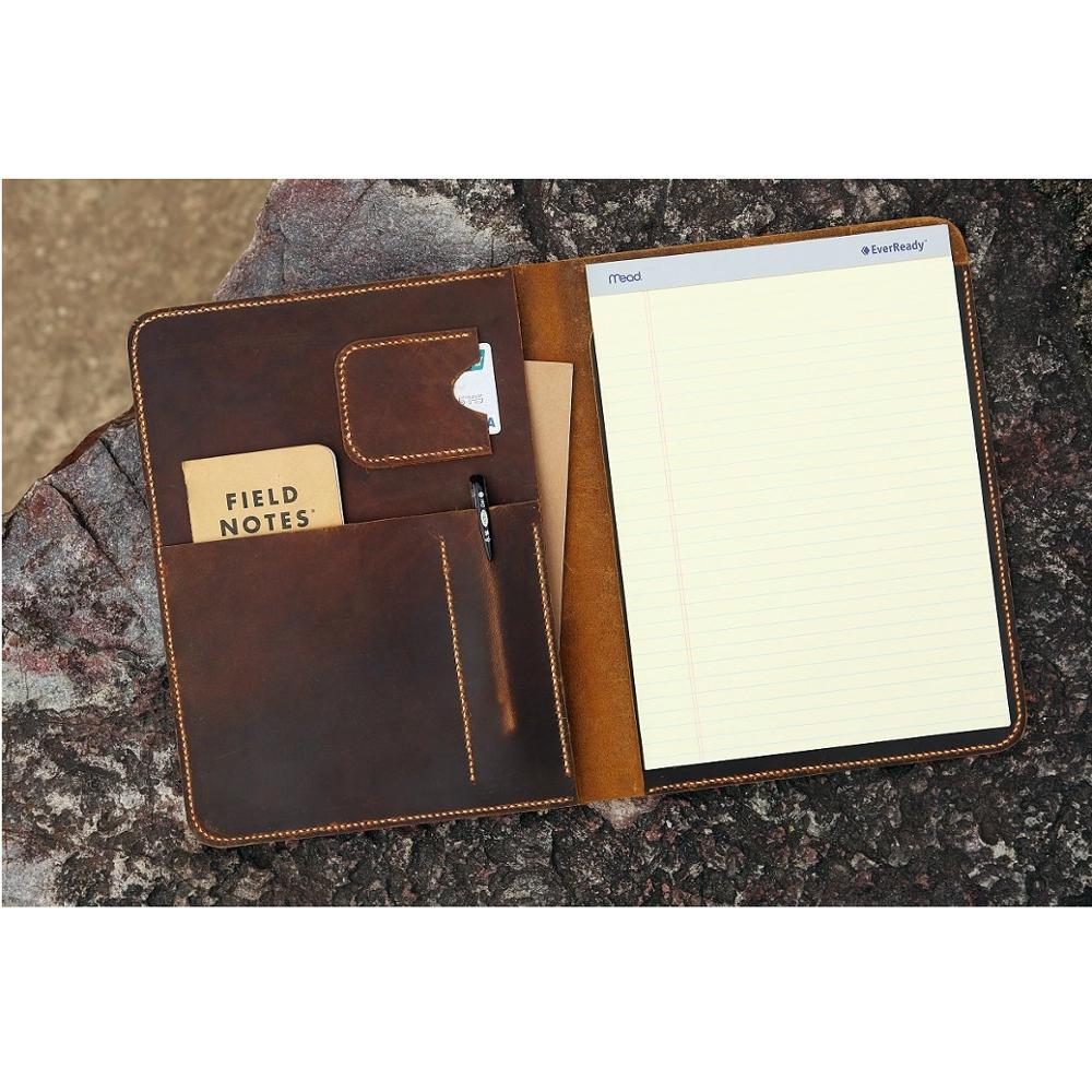 Cuero desgastado grande legal pad portafolio para documentos de escritura/vintage recargable cuaderno de cuero organizador cubierta caso