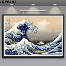 FOOCAME Katsushika Hokusai   Affiches Great Wave Off Kanagawa en soie, imprimés artistiques, peintures décoratifs, décoration de salon