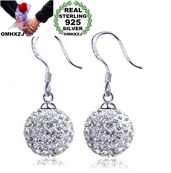 Omhxzj atacado moda jóias estilo restaurar antigas maneiras bola de cristal 925 prata esterlina brincos ys20