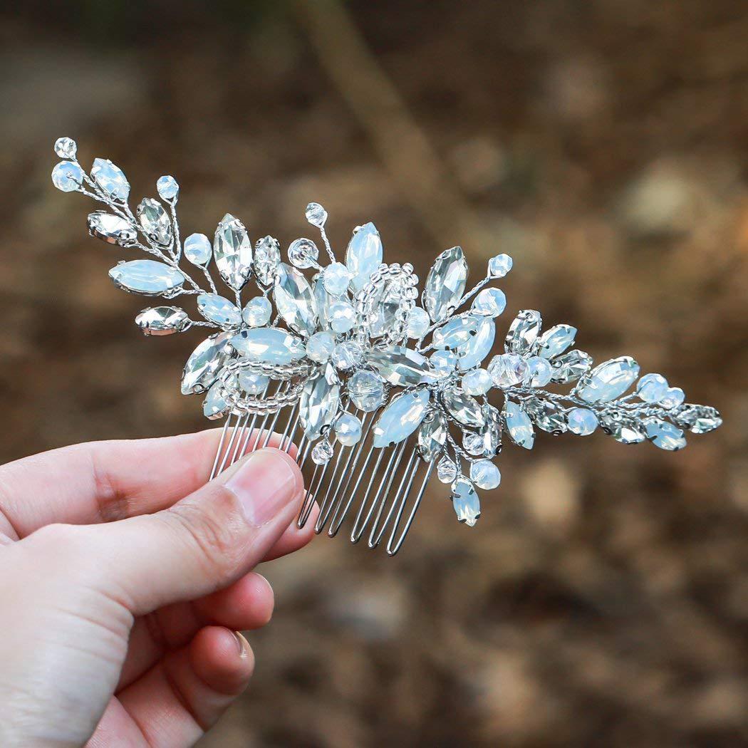 De plata de la boda cabello de diamantes de imitación de joyería de cuentas de cristal tocado de accesorios de la novia boda peines del pelo peluca