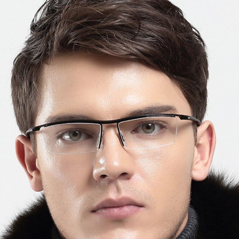 Nuevos monturas de gafas de titanio TR90 flexibles para hombre con media montura en negro, gafas ópticas Rx able