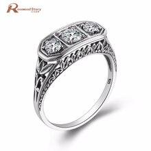 Luxueux Vintage accessoires de mariage rond en forme de coupe cubique zircon anneau solide 925 en argent Sterling anneaux pour les femmes cadeaux