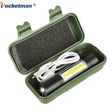 3800 LUMS البسيطة مصباح ليد جيب المدمج في 14500 USB قابلة للشحن Q5 + COB 3 طرق الشعلة linterna داخلي أو في الهواء الطلق استخدام ل الصيد