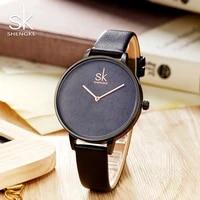 shengke top brand women leather watches luxury quartz watch female clock relogio feminino 2021 sk creative ladies watches k0066