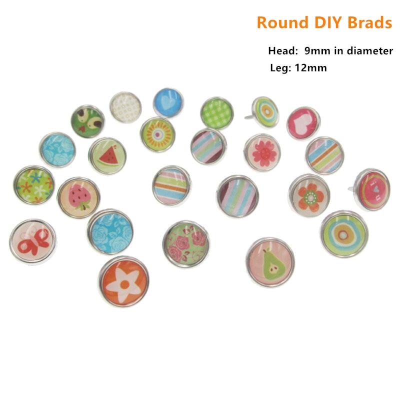 30 unids/set de broches de Epoxy DIY de cabeza redonda con diseños variados para álbum de recortes sujetador con adornos de Metal, adornos para manualidades DIY