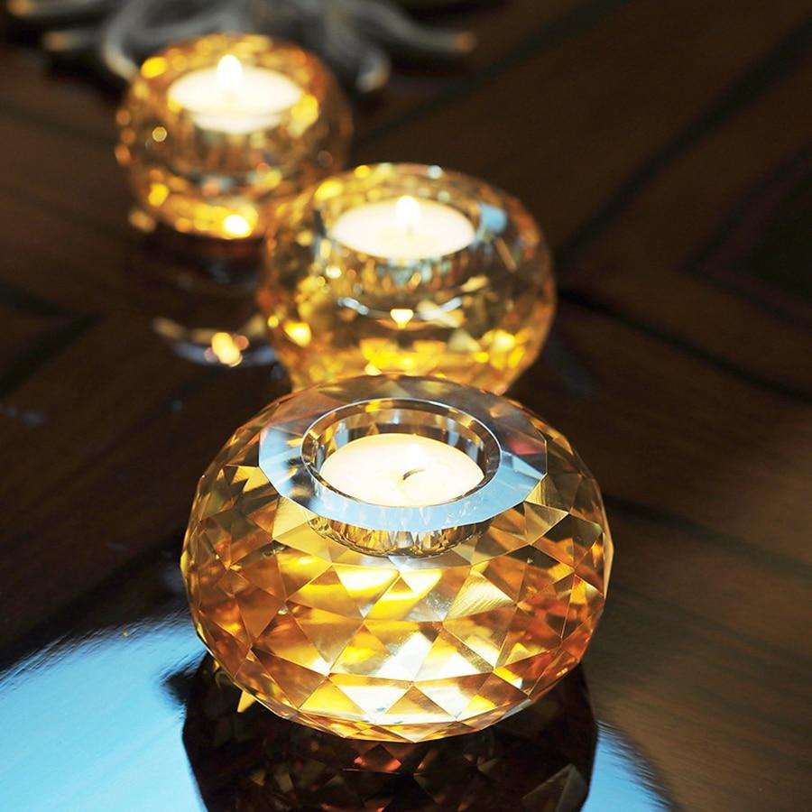 Portavelas de Cristal para decoración del hogar, portavelas de Cristal de estilo...