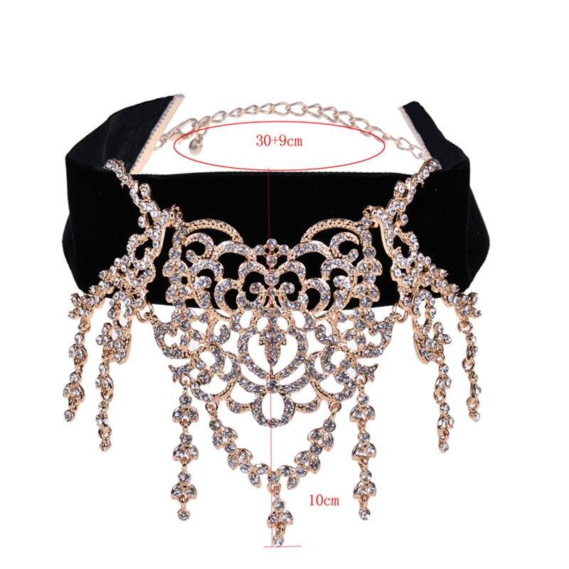 Wholesale Luxury Crystal Choker Trendy Women Jewelry Black Velvet Collar Hollow Rhinestone Maxi Statement Necklace